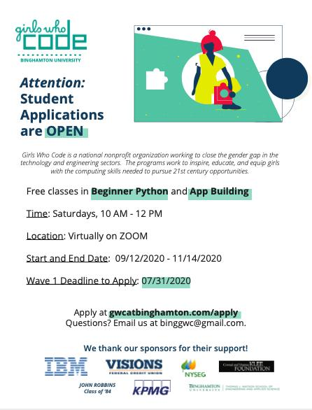 Girls Who Code at Binghamton University Registration Wave 1 Closing Date