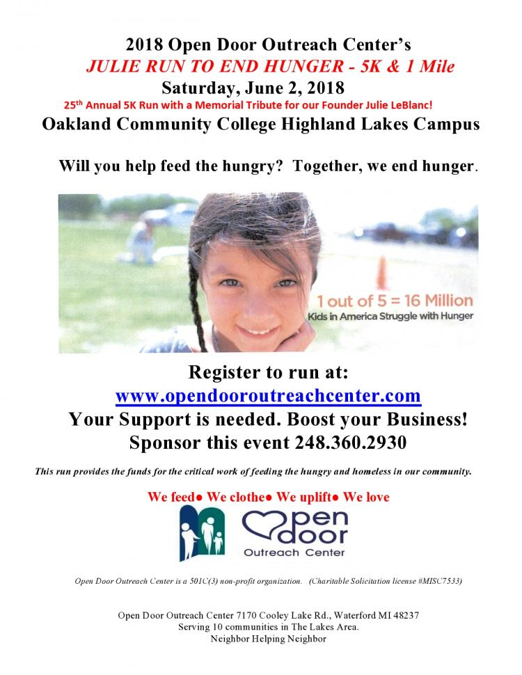 25th Annual Julie Run to End Hunger (5K & 1 mile) for Open Door Outreach Center
