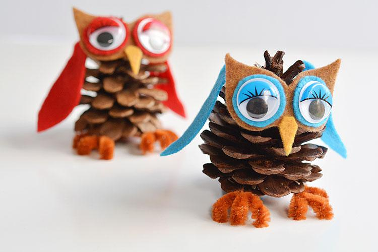 Winter Teen Crafts: Pinecone Winter Owls (Lake Bluff Public Library)