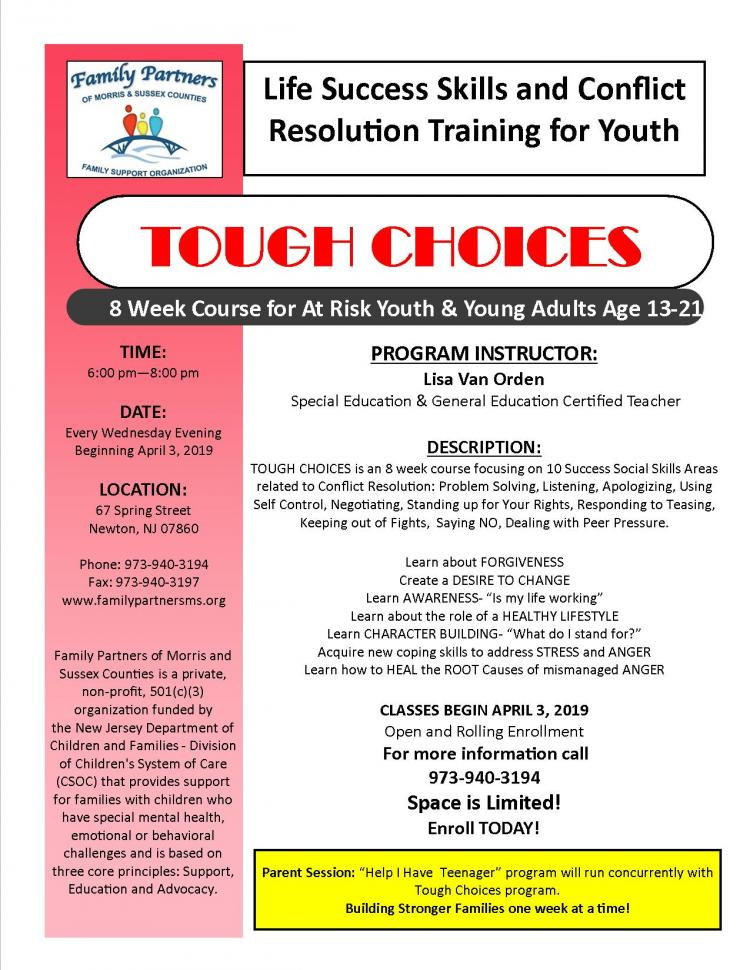 TOUGH CHOICES Life Success Skills and Conflict Resolution Training for Youth