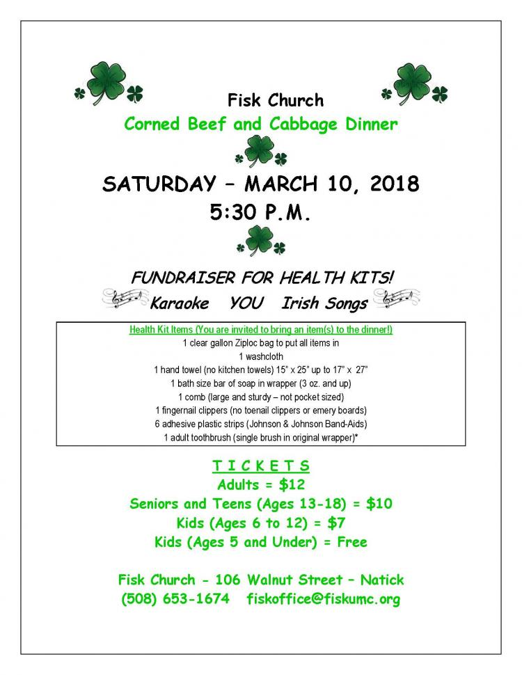 Community Corned Beef Dinner - Fisk Memorial United Methodist Church, Natick
