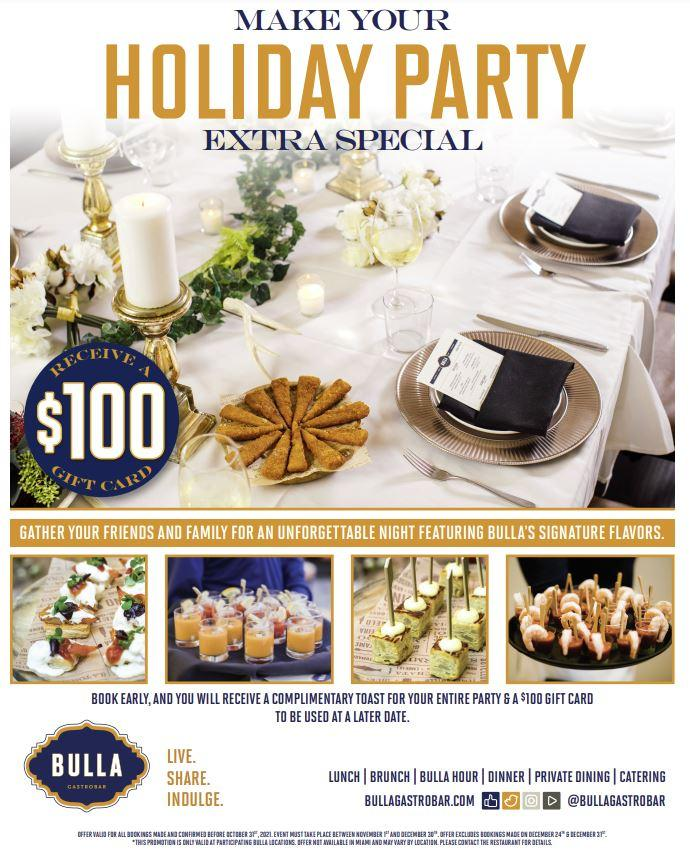 Book your Holiday Party early and make it extra special with Bulla Gastrobar!