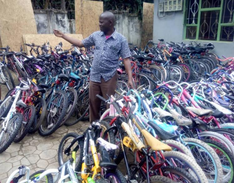 Bicycle & Sewing machine collection, Pedals for Progress, at St. Mary School, 53