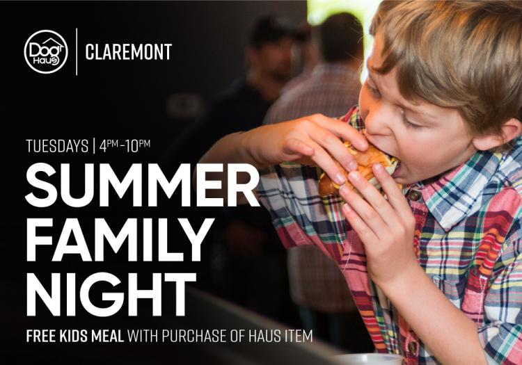 Summer Family Night! Free Kid's Meal with purchase of Haus Item