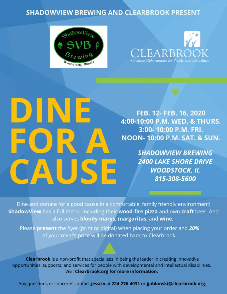 Dine and Donate: Clearbrook and ShadowView Brewing