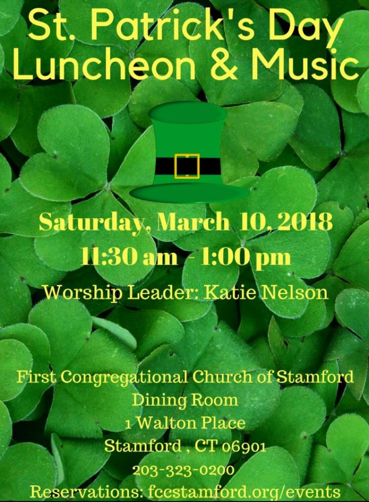 St. Patrick's Day Luncheon & Music @ First Congregational Church Dining Room