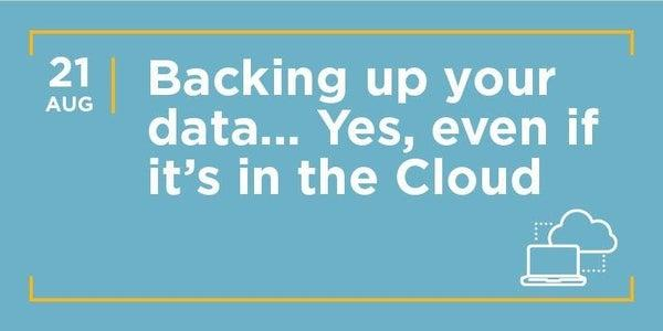 Backing Up Your Data - Yes, Even if it is in the Cloud!