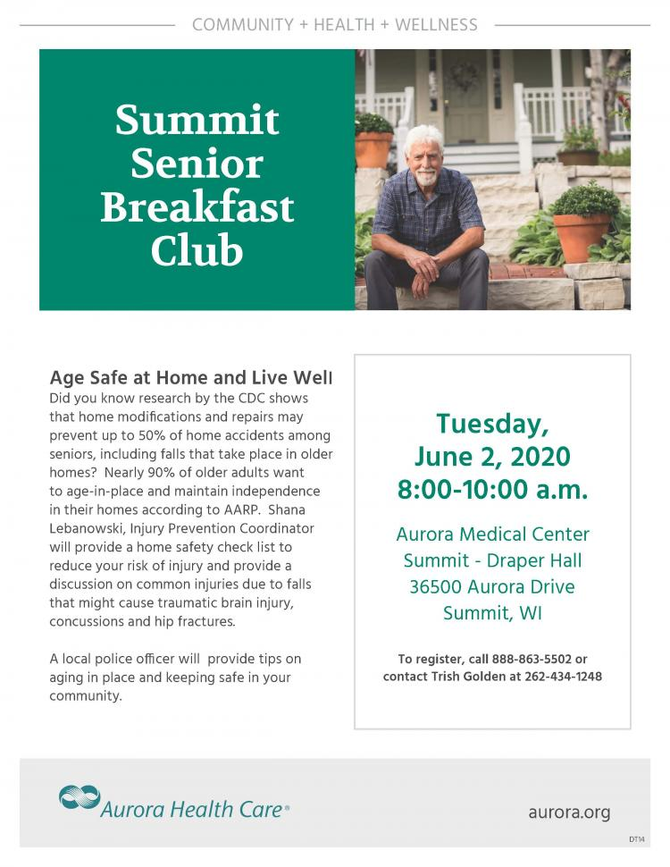 Senior Breakfast Club:  Age Safe at Home and Live Well