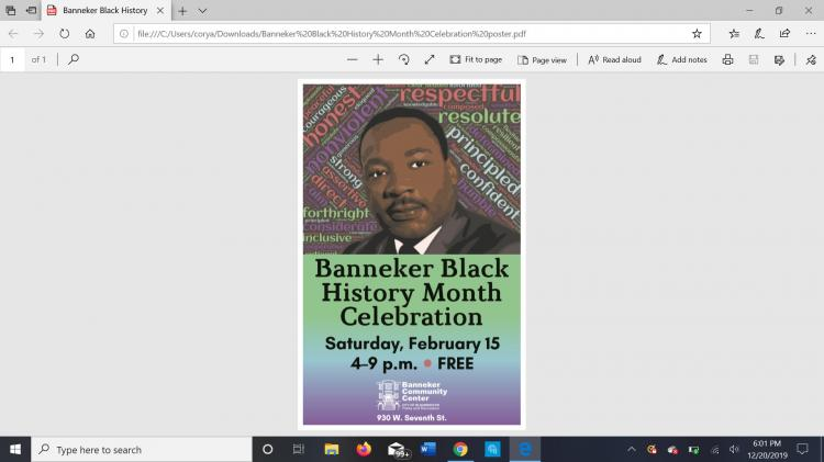Black History Month Celebration at Banneker Community Center
