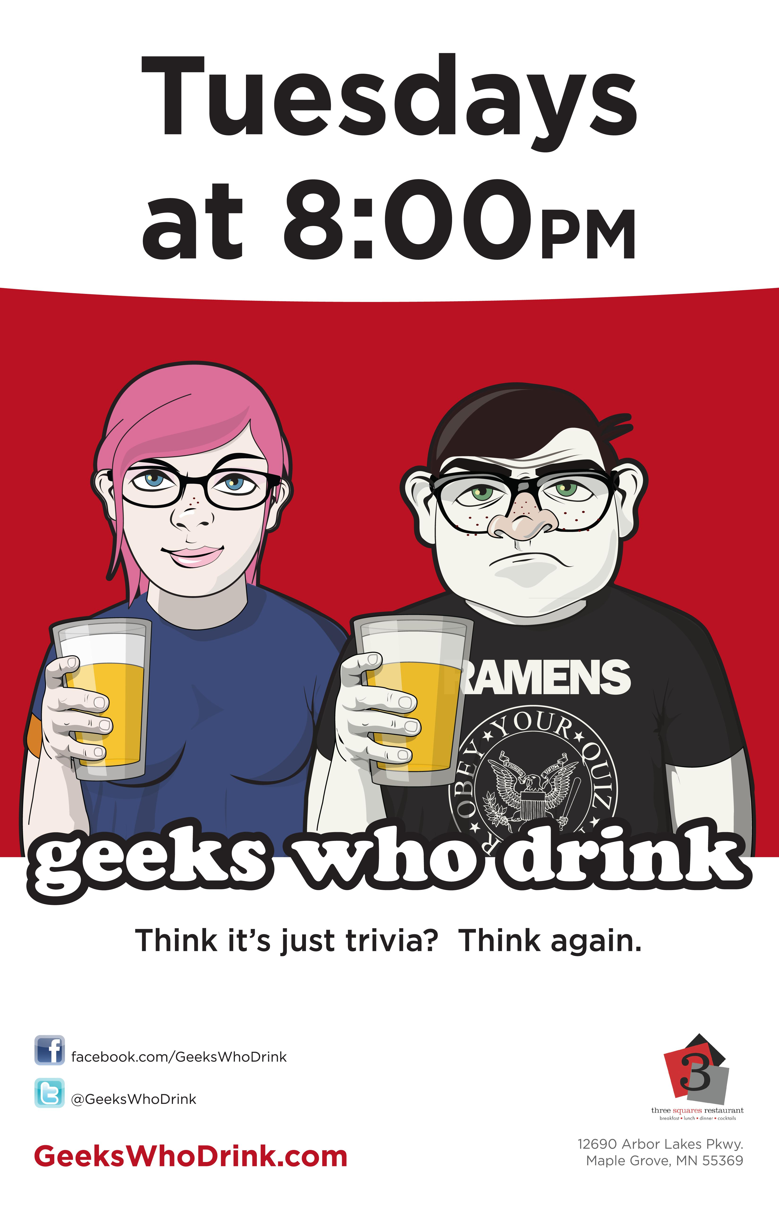 Geeks Who Drink - Tuesday Trivia Night at 3 Squares Restaurant