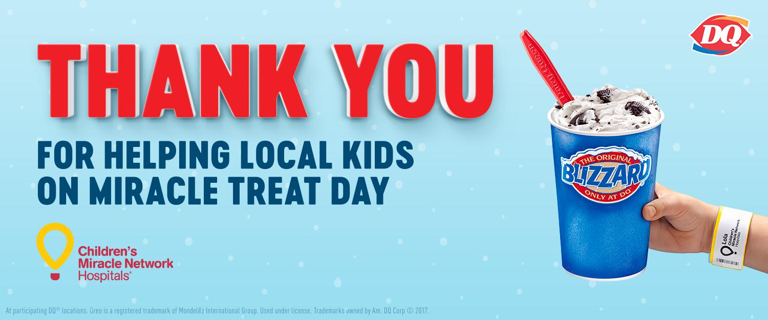 DQ Miracle Treat Day for Children's Miracle Network