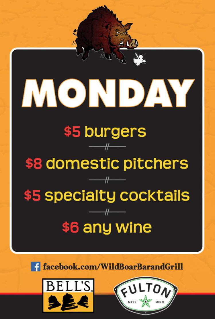 Monday Specials at Wild Boar Bar & Grill