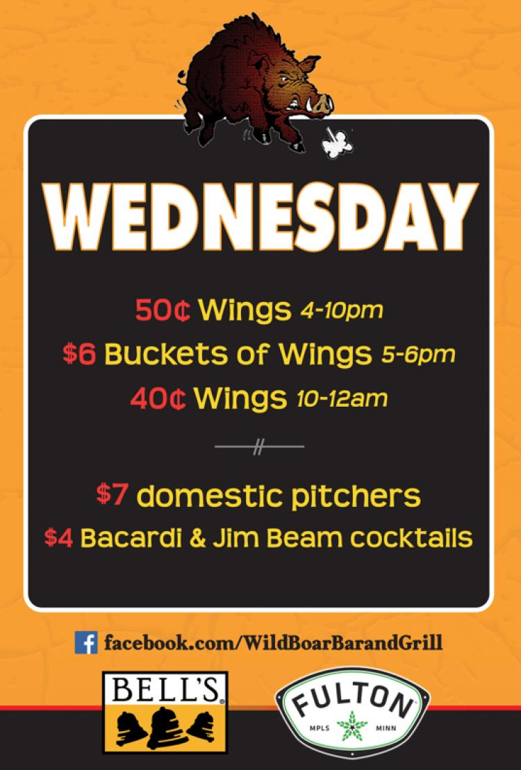 Wild Boar Bar and Grill - Wednesday Specials