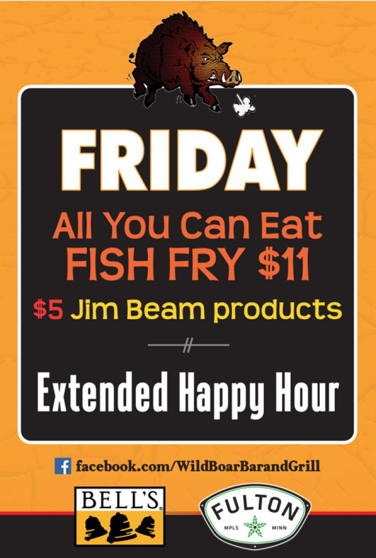 Wild Boar Bar and Grill - Friday Specials
