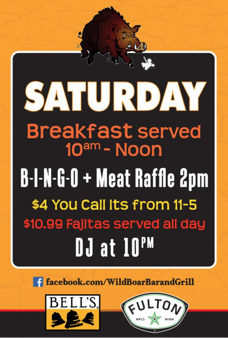 Wild Boar Bar and Grill - Saturday Specials