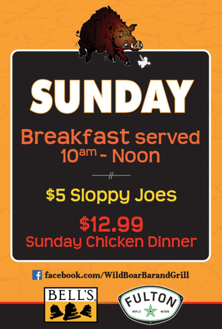 Wild Boar Bar and Grill - Sunday Specials