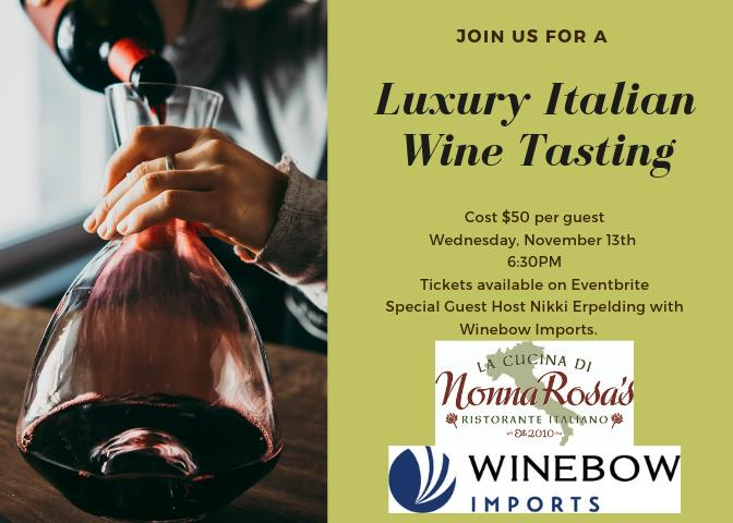 Robbinsdale - Luxury Italian Wine Tasting at Nonna Rosa's