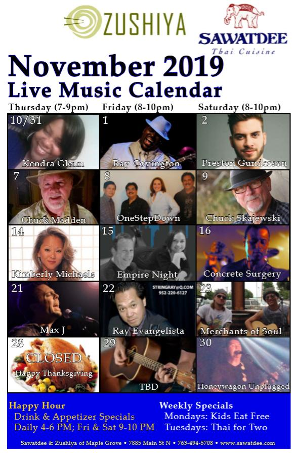 Live Music Calendar - November - Sawatdee & Zushiya of Maple Grove
