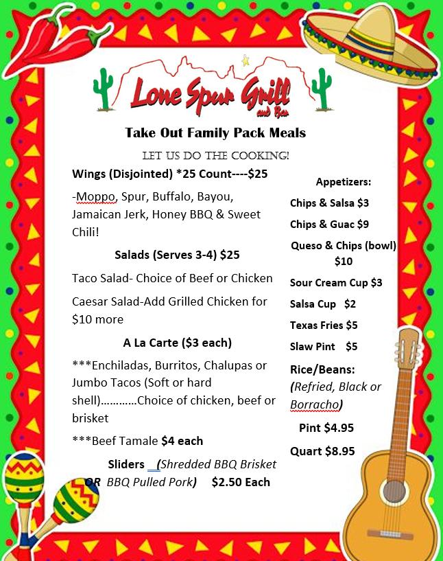NEW Lone Spur Family Packs Menu - Carry Out
