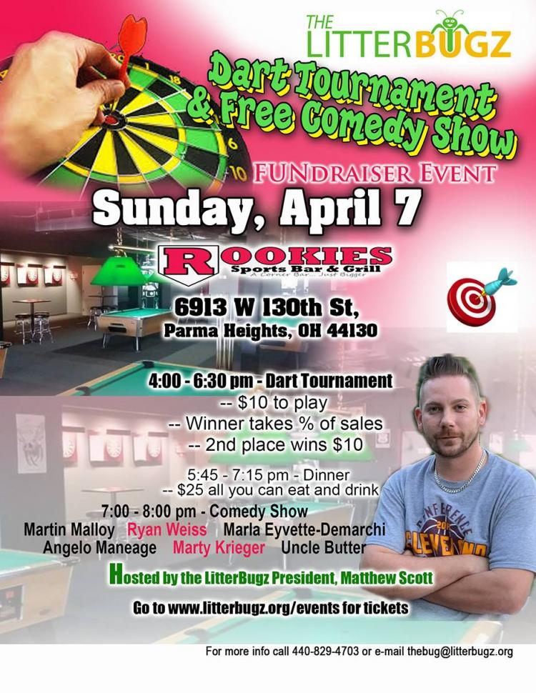 LitterBugz Dart Tournament and Comedy Show