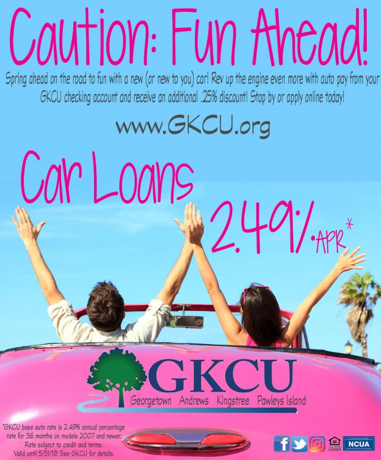 GKCU 2.49% New or Almost New Car Loan + extra .25% with Auto Pay thru 5/31