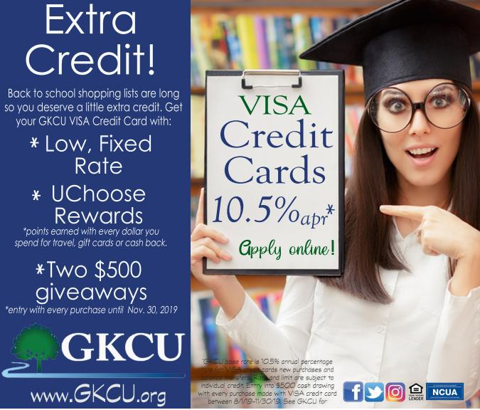 Visit GKCU for Back To School VISA Rewards Card & $500 Give-A-Ways