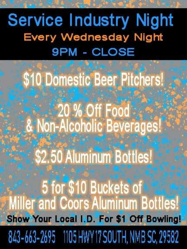 Service Industry Night - Every Wednesday at 710 Bowling NMB