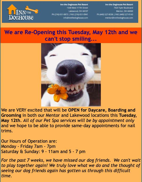 Inn The Doghouse Is Open For Business and Welcoming New and Old Clients!