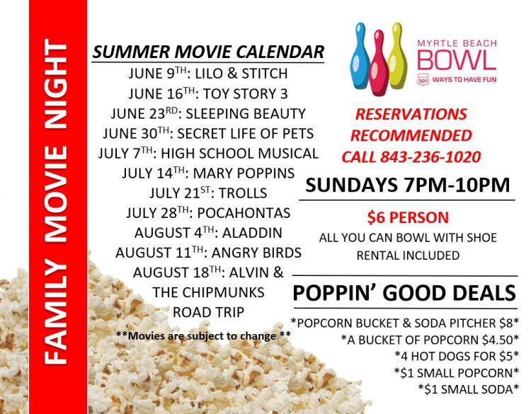 FREE SUNDAY NIGHT FAMILY MOVIES &  FAMILY FUN SPECIALS AT MYRTLE BEACH BOWL