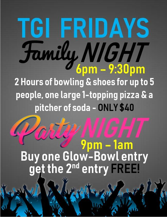TGIF Nights at Myrtle Beach Bowl - Family Bowl Specials & BOGO Glow'n Bowl