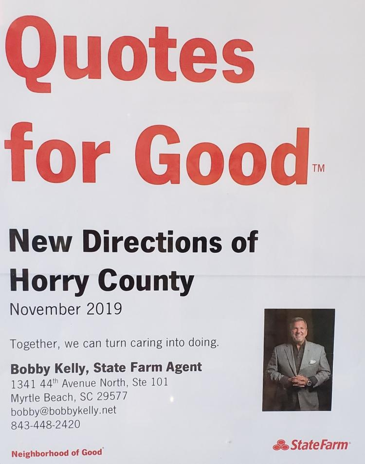 Donation Made to NewDirections with FREE Quote at Bobby Kelly State Farm