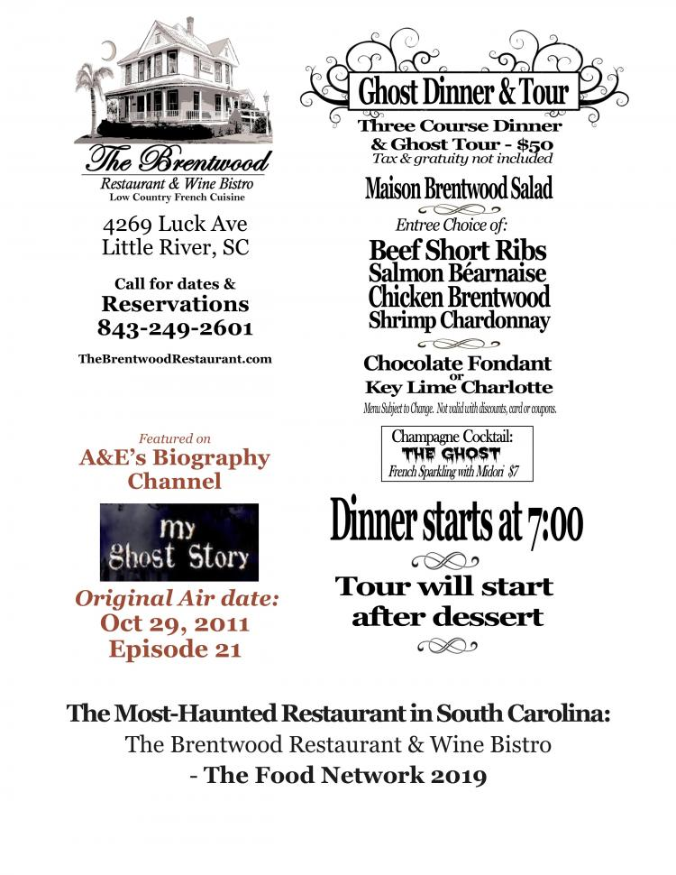 Brentwood Ghost Dinner & Tour