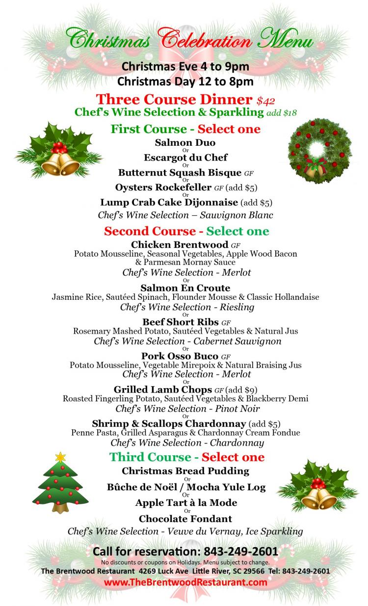 Christmas Day at The Brentwood Wine Bistro