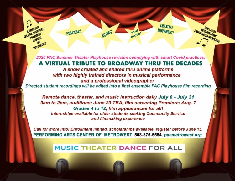 Virtual Summer Theater Program A Virtual Tribute to Broadway Through the Decade