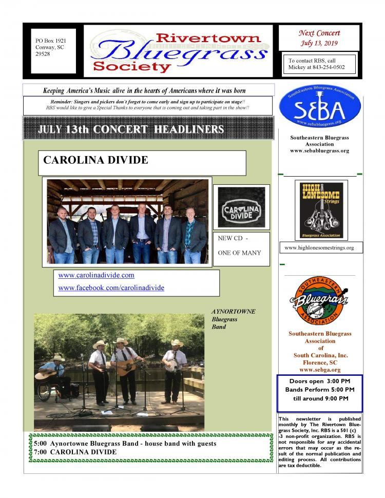 Rivertown Bluegrass Music concert saturday July 13th
