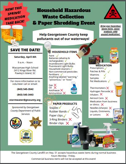 Household Hazardous Waste Collection & Paper Shred Event at Waccamaw High School