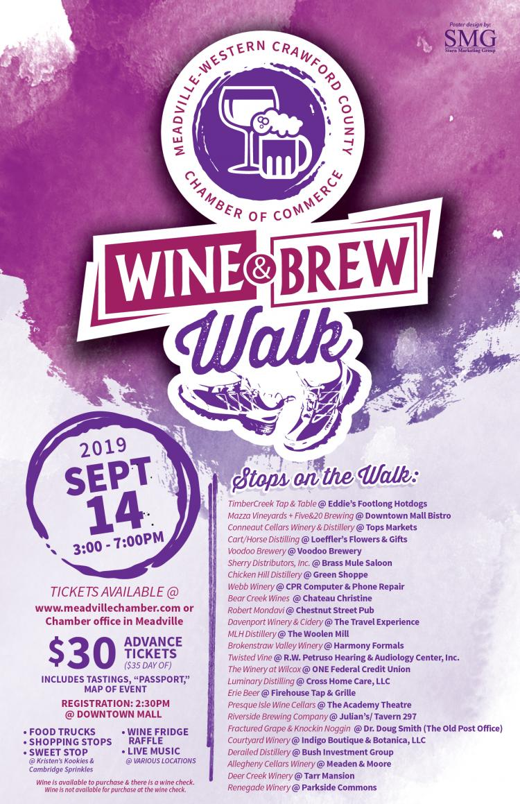 4th Annual Wine & Brew Walk in Meadville, PA. Presented by the Meadville Area Ch