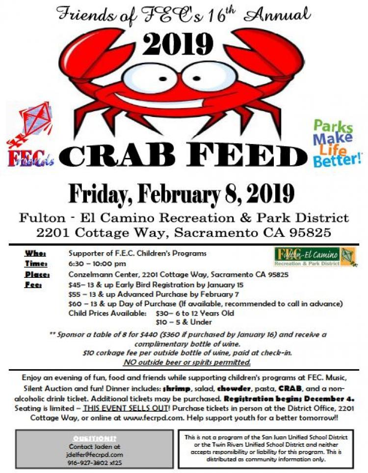 FEC-Friends of FEC Crab Feed Tickets on Sale