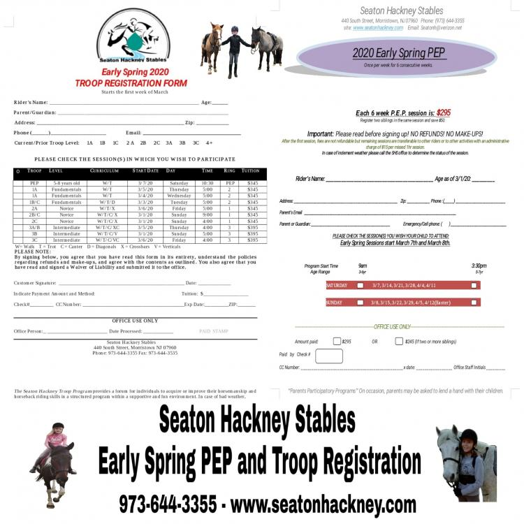 Seaton Hackney Stables Early Spring Registration