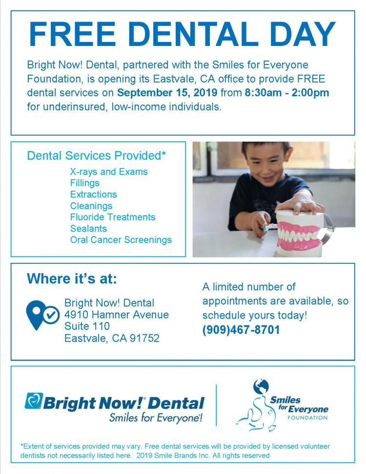 Free Dental Clinic in Eastvale, CA