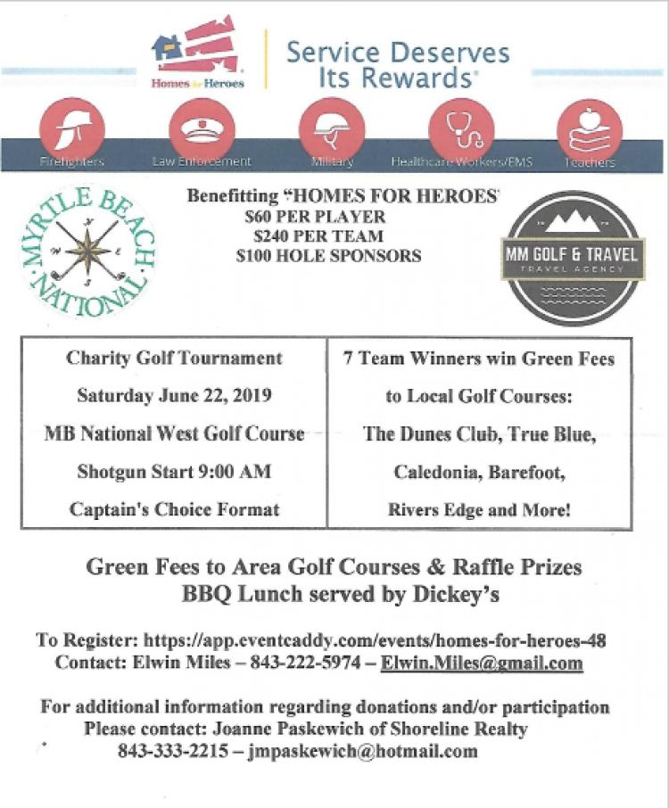 Golfers & Sponsors Wanted for Homes for Heroes Charity Golf Tourn. June 22nd