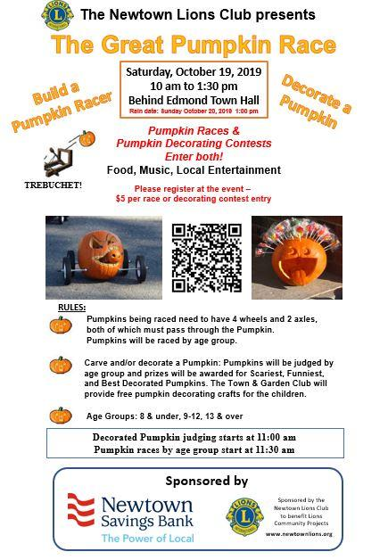 Newtown Lions Club Great Pumpkin Race – and more – on Saturday, October 19th