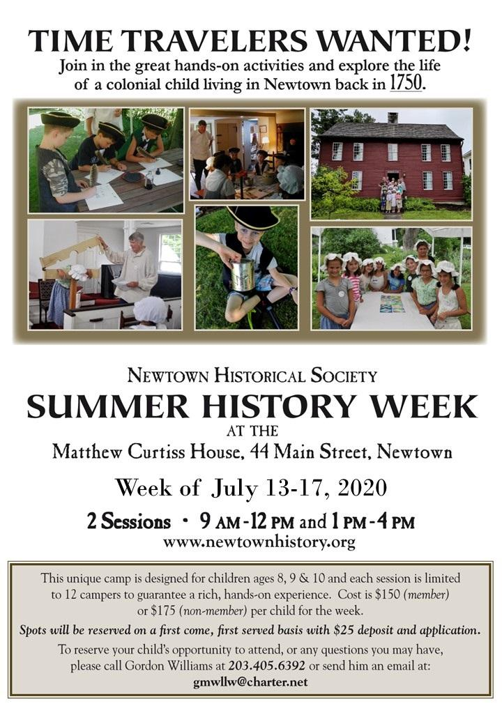 Newtown Summer History Camp - Time Travelers Wanted!