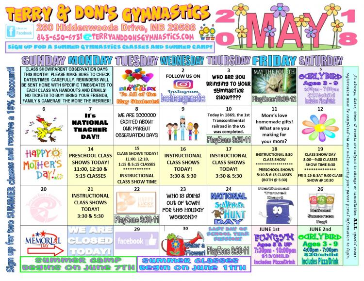 April Showers Bring May Fun at Terry and Dons Gymnastics - See Our May Calendar