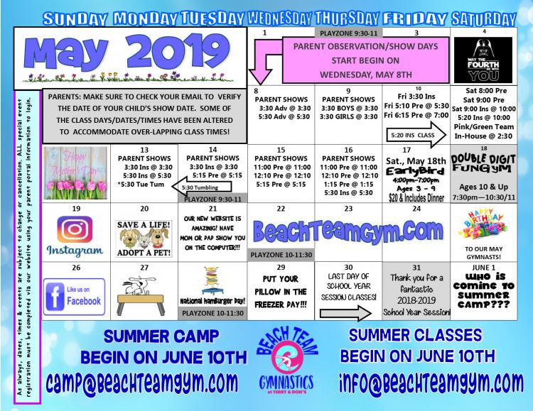 Open to See May Events Calendar at Beach Team Gymnastics at Terry & Don
