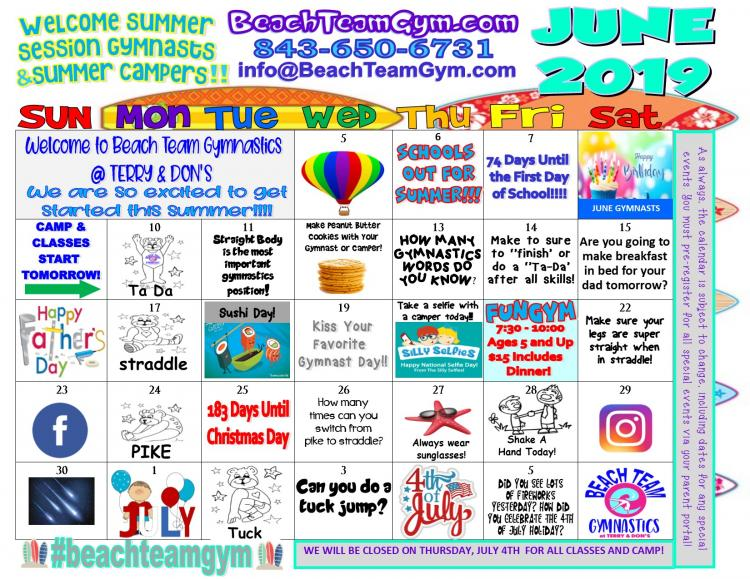Open to See June Events Calendar at Beach Team Gymnastics at Terry & Don