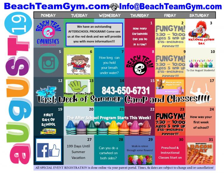Open to See August Events Calendar at Beach Team Gymnastics at Terry & Don