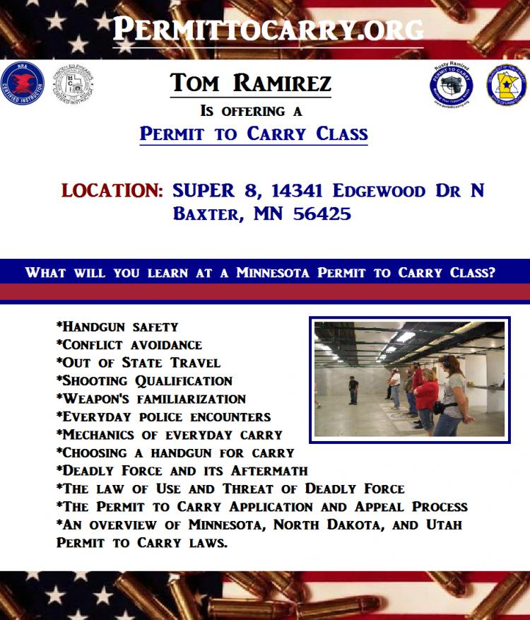 Permit to Carry (Concealed Carry) Class - Brainerd/Baxter