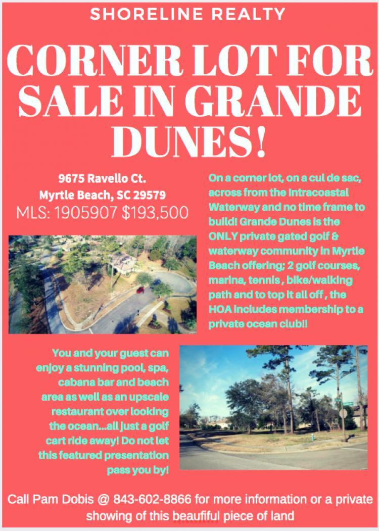 Lot of Land for Sale in Grand Dunes Community! 9675 Ravello Ct. MB, SC 29579