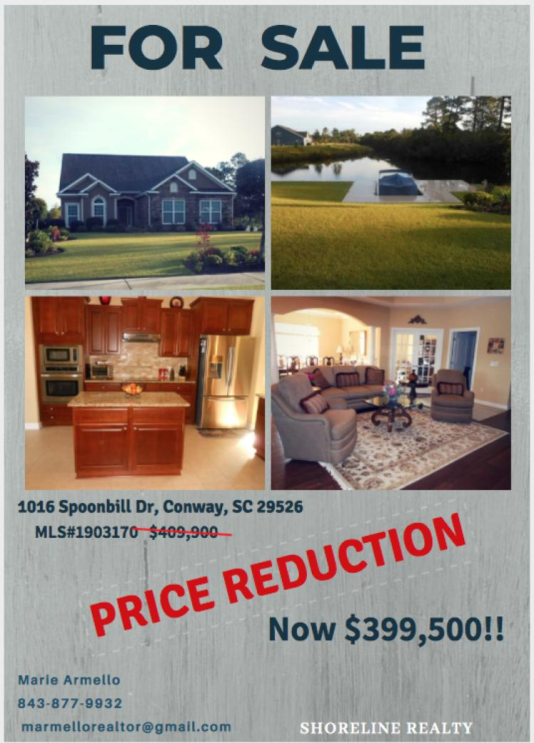 PRICED REDUCED!!!!!!!!! @ 1016 Spoonbill Dr. Conway,SC 29526